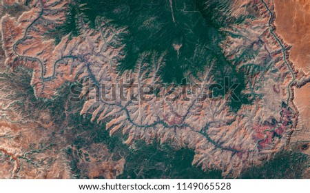 High resolution satellite image of Grand Canyon national park, Arizona, US, natural background map, aerial view, contains modified Copernicus Sentinel data [2018]