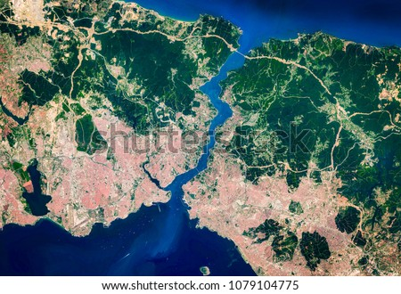 High resolution satellite image of Istanbul city and bosporus, Turkey, from above, aerial photo, background map, contains modified Copernicus Sentinel data [2018]