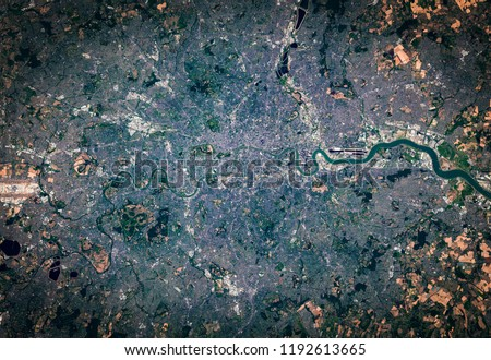High resolution satellite image of London city, United Kingdom, aerial view, natural background map, contains modified Copernicus Sentinel data [2018]