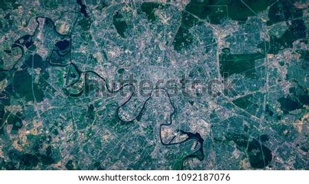 High resolution satellite image of Moscow city from above, Russia, background city map, aerial view, contains modified Copernicus Sentinel data [2018]