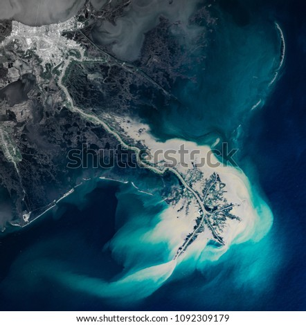 High resolution satellite image of New Orleans and Mississippi delta from above, United States, background map, aerial view, contains modified Copernicus Sentinel data [2018]