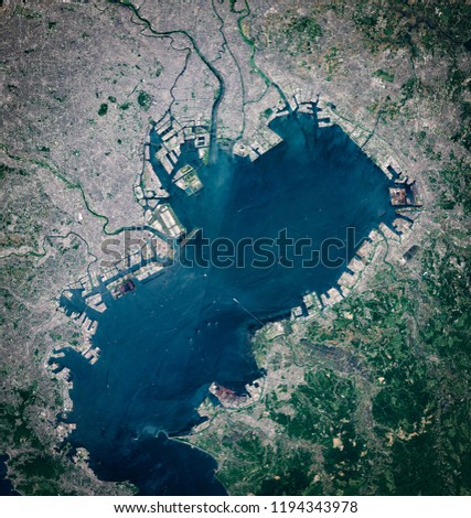 High resolution satellite image of Tokyo metropolitan area, Yokohama, Kawasaki and Chabi, Japan from above, aerial view, natural background map, contains modified Copernicus Sentinel data [2018] #1194343978