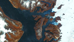 High resolution satellite photos of land, ocean and floating ice. Northern regions of the Earth, ice melting, environmental problems. contains modified Copernicus Sentinel data