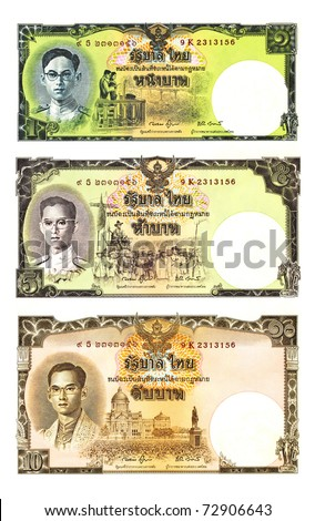 High resolution series images of Thai vintage baht  banknote.