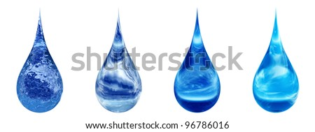 High resolution set,group or collection of concept or conceptual blue water or liquid drops isolated on white background