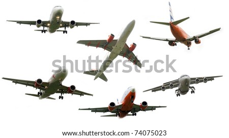 High resolution set of airplanes isolated on white background