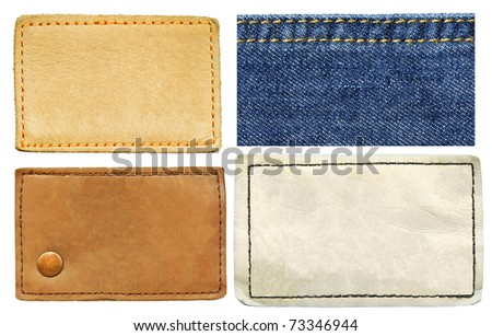High resolution set of blank grungy real and artificial leather jeans labels and jeans texture, isolated on white background