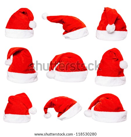 High resolution set of red Santa Claus hats isolated on white background