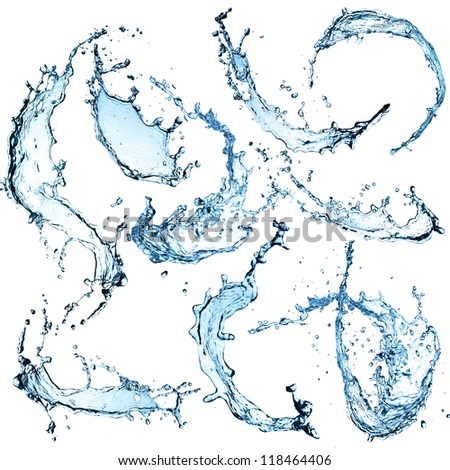 High resolution Water splashes collection over white background - stock photo