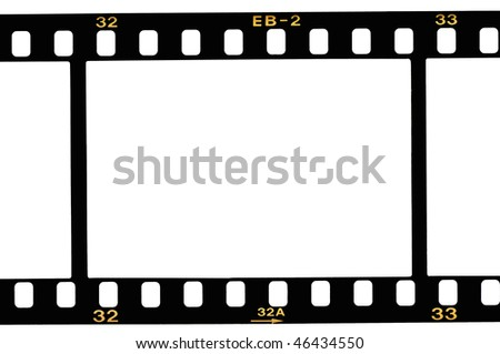 High resolution white background macro studio image of a 35 mm filmstrip background