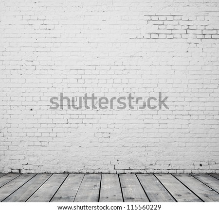 High resolution white brick room - stock photo