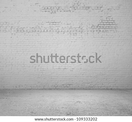 high resolution white brick wall and floor