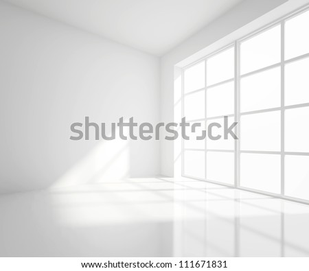 High resolution white room with window #111671831