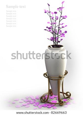 High resolution white vase. 3d illustration over white backgrounds.