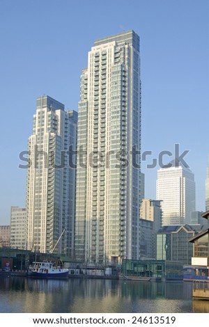 High rise apartment block at South Dock, London, England - stock photo