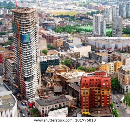 High Rise Building Site Construction at  Downtown Vancouver in British Columbia, Canada