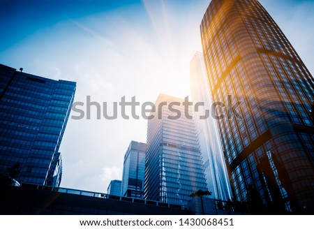 High-rise buildings against sky in city,shanghai,china.