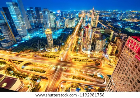 The night view of flyover in beijing Images and Stock Photos