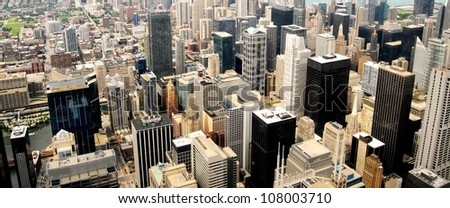 High Rise Buildings at Downtown Chicago Panorama, Illinois