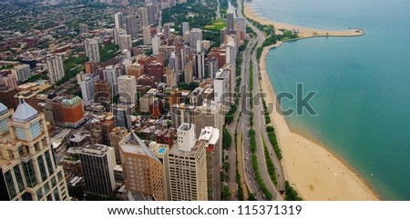 High Rise Buildings at Downtown Chicago Waterfront , Illinois