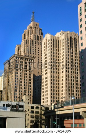 High rise buildings in downtown Detroit