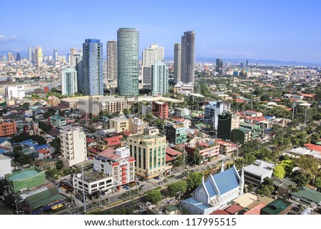 high rise condominiums and office blocks in rockwell part of crowded makati city in manila the philippines