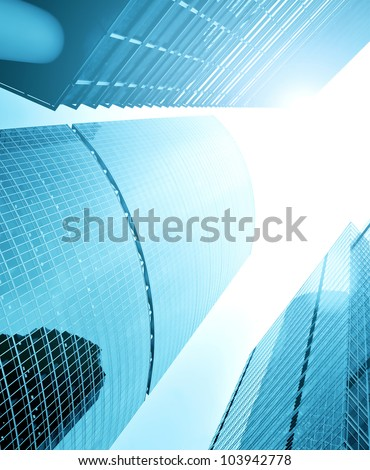 high rise glass building perspective view
