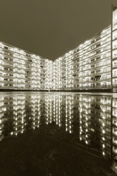 High rise residential building of public estate in Hong Kong at night