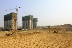 high rise residential construction site in a city, north china