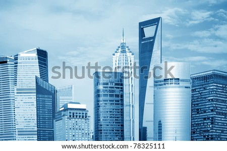 High-rises in Shanghai's new Pudong banking and business district.