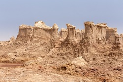 High rock formations rise in the Danakil depression like stone rock city. Landscape like Moonscape, Danakil depression, Ethiopia, Africa