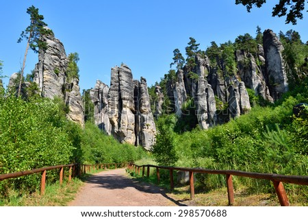 High rock towers in Bohemian paradise