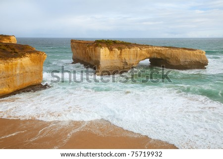 High rocks in the sea at the coast from Australian near the great ocean road