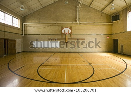 High school basketball court and