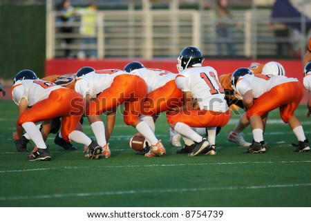High school football line of scrimmage