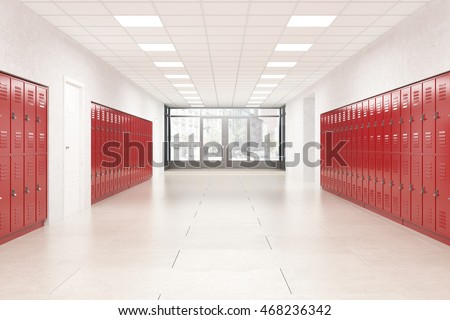 High school lobby with red shiny lockers. Fitness Gym. Concept of studying and getting knowledge. 3d rendering #468236342