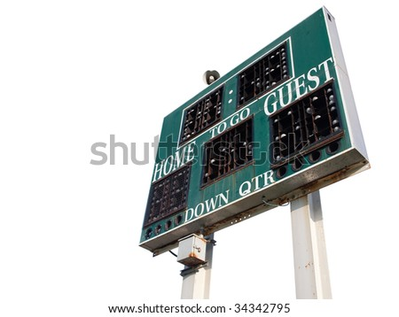 HIgh School Scoreboard Isolated on a White Background.