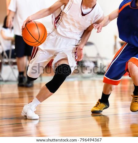 High school student playing basketball