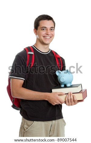 High school student saving for college with piggy bank and books isolated on a white background
