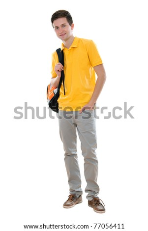 high school student smiling. Isolated on the white background