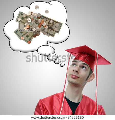 High school, university, or college graduate thinks about the debt he has and the money he will soon obtain now that he has a degree.