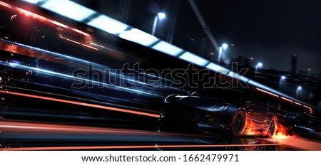 High speed, black sports car speeding in the city (with grunge overlay and motion blur) brand less and generic car design - 3d illustration
