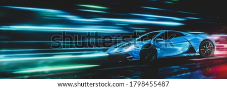High speed, blue sports car in motion - futuristic concept (non-existent car design, fully generic) with grunge overlay - 3d illustration, 3d render Сток-фото ©