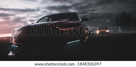 High speed car racing near city -   street race concept (non-existent car design, full generic sedan) - 3d illustration, 3d render