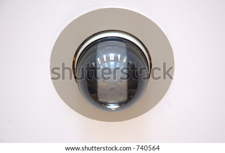 High speed CCTV security camera on wall