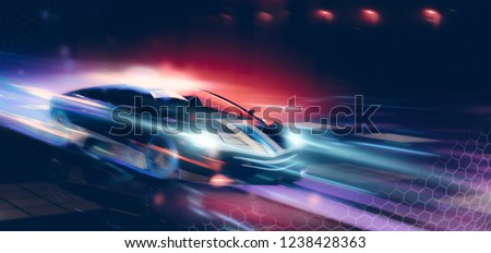 High speed, conceptual police sports car driving - futuristic concept (with grunge overlay and motion blur) brand less - 3d illustration Сток-фото ©