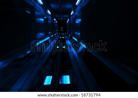 High speed in underground, blue toned.