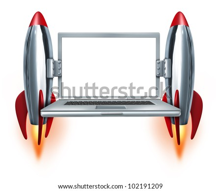 High speed internet technology symbol with a blank laptop and two rocket boosters blasting off as a concept of fast mobility computing and quick technical service on a white background.