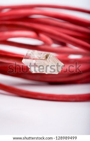 High speed lan cord and connector - macro - focus on connector
