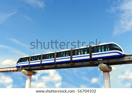 High Speed Monorail Train In Moscow, Russia.